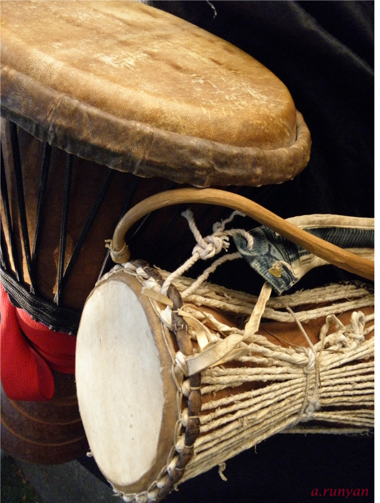West African drums, djembe and talking drum